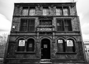 Fine art black and white print of the Smiths Arms, Manchester Manchester Landscapes Architecture