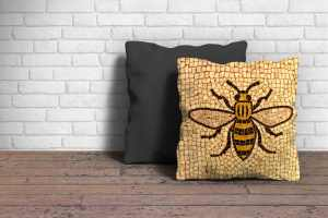 Manchester Bee Cushion Poster Art and Gift Ideas 100% cotton