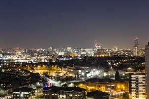 Manchester Skyline At Night,  Colour Print Manchester Landscapes Architecture