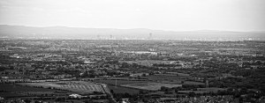 Manchester, View from Holcombe Hill, Panoramic Skyline Panoramic Landscapes Black and White