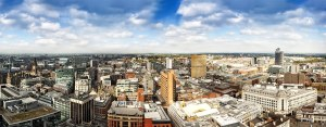 Manchester City Skyline from Piccadilly Panoramic Landscapes Canvas