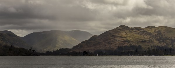 Ullswater Towards Glenridding, Panoramic Canvas Print Panoramic Landscapes Clouds