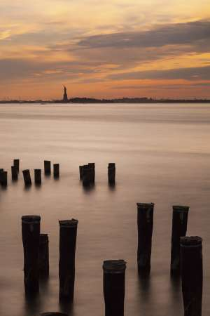 Fine art colour photograph Statue of Liberty Island at Sunset New York Landscapes Architecture