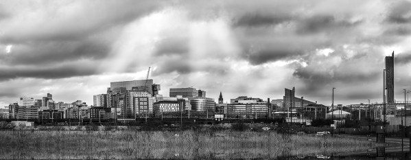 Manchester Panoramic Skyline, Canvas Black and White Panoramic Landscapes Black and White