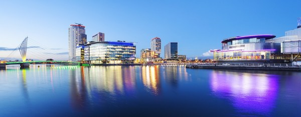 MediaCity & Salford Quays Panoramic Skyline Landscape Panoramic Landscapes Canvas