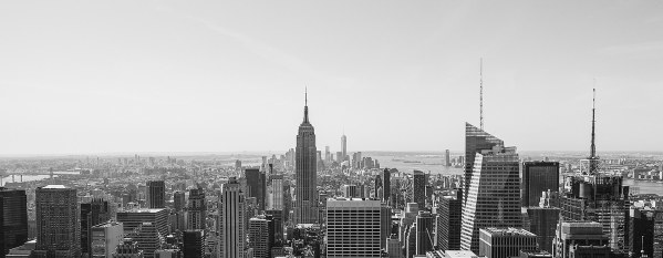 Panoramic canvas print of New York City Skyline Panoramic Landscapes Black and White