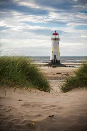 Point of Ayr Lighthouse and Dunes, Wales Coastal Landscapes Beach