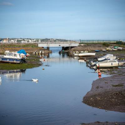 Starcross Harbour, Moored Boats and Swans Coastal Landscapes Coastal