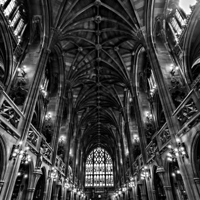 John Rylands Library Interior, Black & White Photograph Manchester Landscapes Architecture