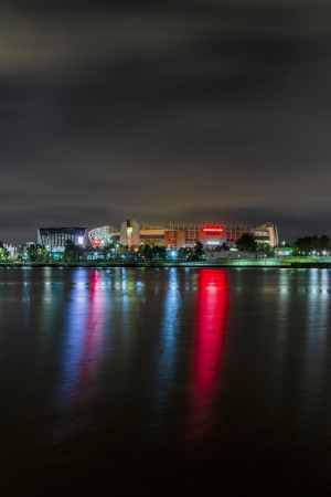 Old Trafford Manchester United at Night, Portrait Manchester Landscapes colour print