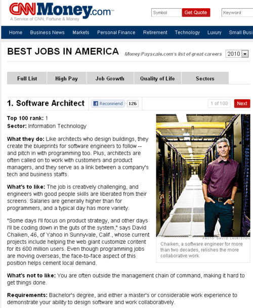 The 100 Best Jobs in America (there are 100?)