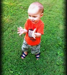 Daniel had a fun time playing in the yard tonight. He's always so happy!!