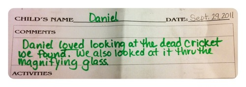 These are the daycare reports we get for Daniel
