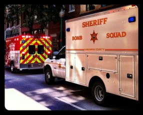 Exciting day. Bomb Squad on Capitol St. beside our office.