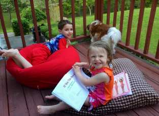 My favorite part of the day. Reading to the kids on the deck.