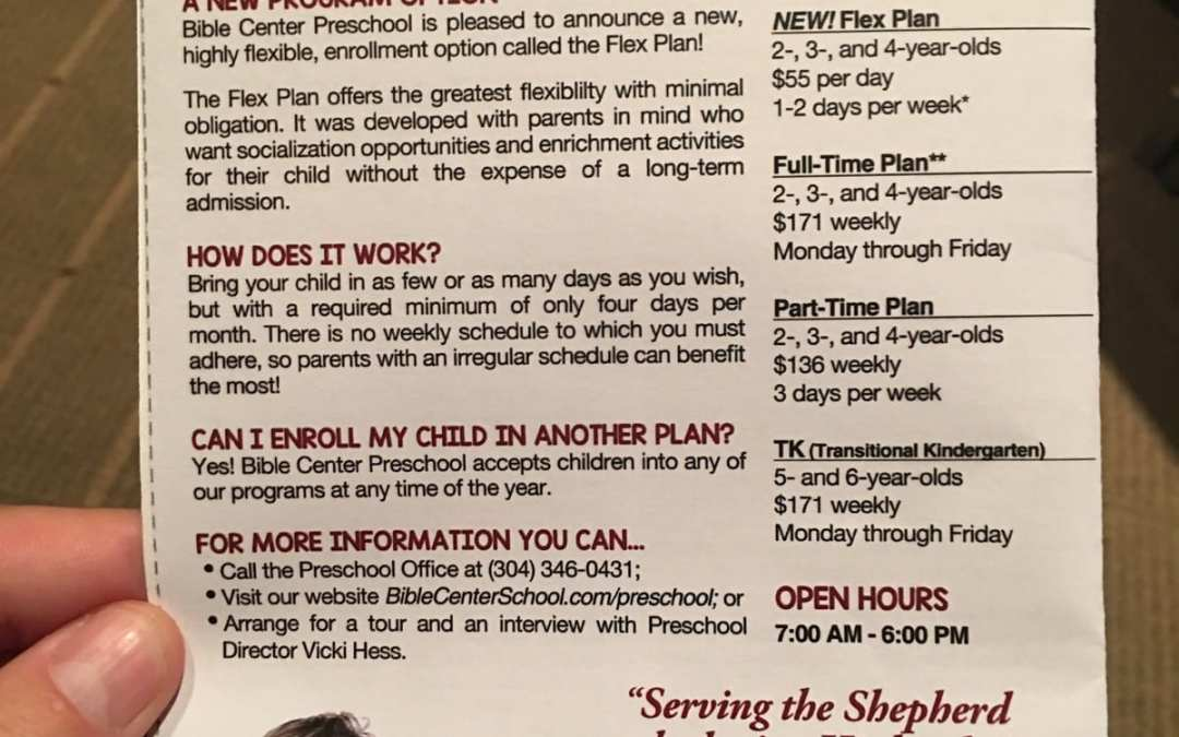 Preschool at Bible Center Offers New Flexible Schedule