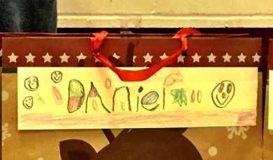 Daniel decorated his name tag