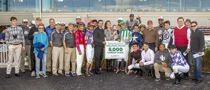 Robby Albarado celebrates his 5000th career win at the Fair Grounds