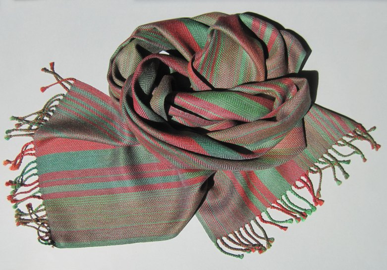 scarf brown green pink