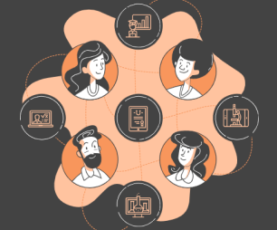 Illustration of people collaborating remotely.