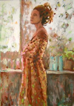 Autoportret impresja - akryl na płótnie 100x70cm