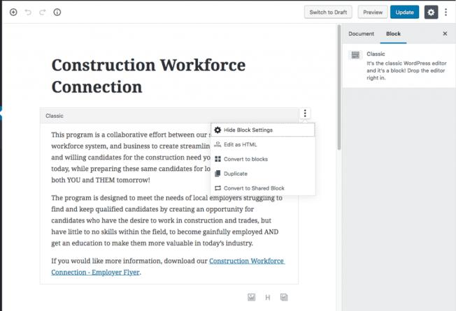 Content in Gutenberg / Classic Editor Block