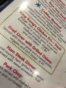 Menu from the Stardust Diner in Vancouver WA