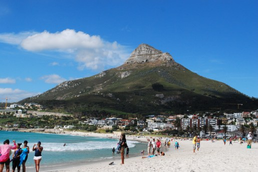 Crowds on the beach in Camps Bay