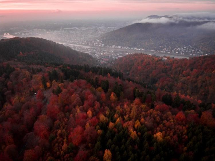 Heidelberg drone sunset