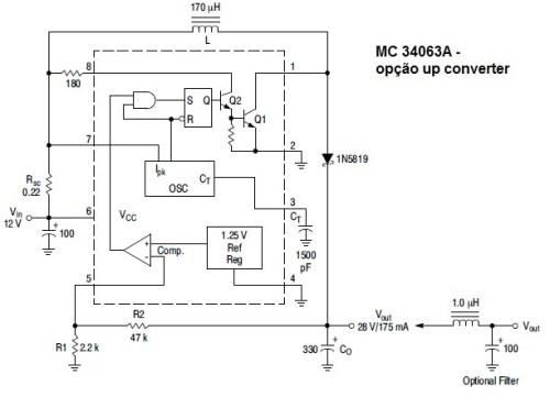 Circuito elevador de tensão com MC34063
