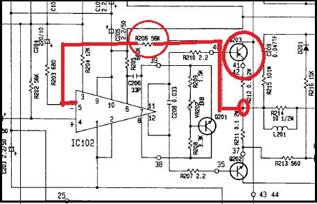 Esquema parcial do amplificador