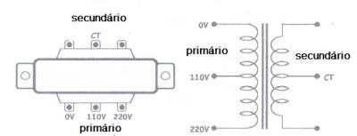 Esquema de um transformador com 3 fios no primário