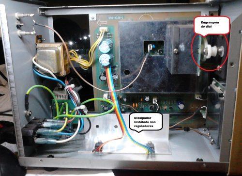 Engrenagens do dial e dissipador instalado