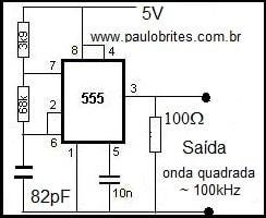 Fig.2 - Gerador de onda quadrada com 555