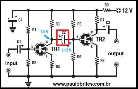 Fig.2 - Amplificador com acoplamento indireto