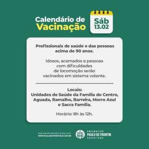 Read more about the article Paulo Frontin vacina idosos e profissionais de saúde neste sábado(13)