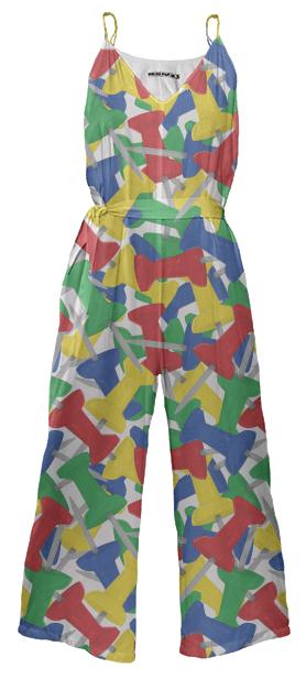Paul S OConnor Push Pin Textile Print Pattern Jumpsuit
