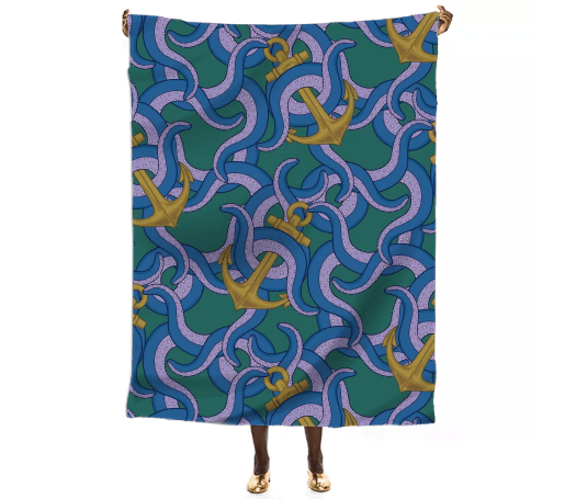 Paul S OConnor Sea Life Textile Pattern Throw