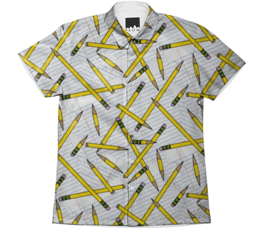 Paul S OConnor Pencil and Paper Textile Print Pattern Shirt