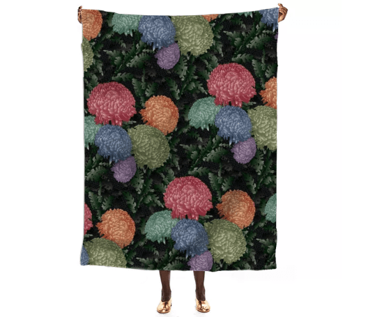 Paul S OConnor Psilo Chrysanthemum Textile Pattern Print Throw
