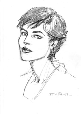 """Here's a head shot of Toni Turner. We decided to reorganize the original """"Models Inc."""" story and move it into Marvel's 616 universe. That, unfortunately, meant that we could not use Mary Jane Watson. That left room for another character, and I chose Toni Turner. This is a sketch that Vicenc did to see if he could get her look down. Turns out, yes, he could. I really love this drawing. Toni seems vibrant, and lovely."""