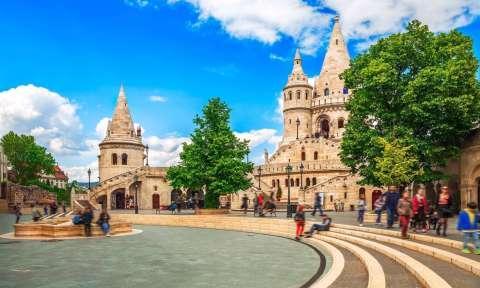 Budapest Fishermans Bastion square famous touristic landmark
