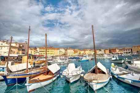Marina and harbour of Rovinj town. Istria, Croatia