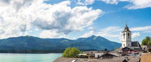 St. Wolfgang City on Wolfgangsee lake, Salzkammergut, Austria in a beautiful summer day