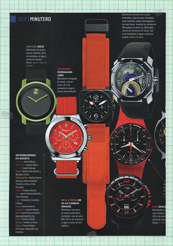 Hoja de revista reloj Salvatore Ferragamo 1989