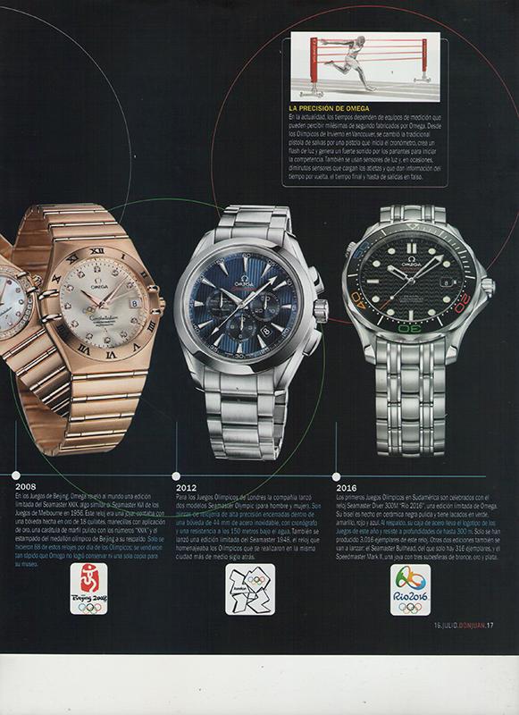 Hoja de revista reloj Omega 2012