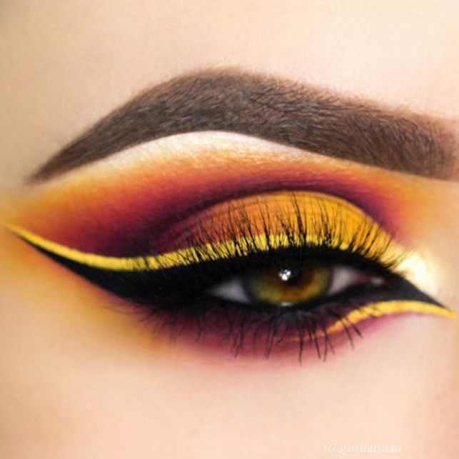 Resultado de imagem para maquiagem para olhos amarelo