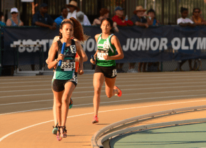 2016 JOs - Woodside Wildebeests: 5th 13-14 Girls 4x800m; #6 is Anna Mokkapati