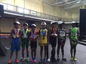 2016 JOs 7-8 boys Long Jump Medalists - PA represented by 2nd - Kaiden Gibbs - Oakland Pal; 3rd - Thomas Berg - East Bay Elite; 5th - Johnathan Eaglin II - East Palo Alto Greyhounds; 8th - Tariq Lofton - Sacramento Speed Factory