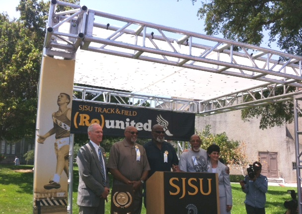 Tommie Smith, Harry Edwards, John Carlos flanked by SJSU Athletic Director and President